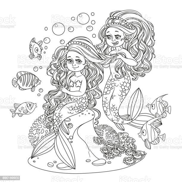 Cute girl mermaid plait braids friend mermaid outlined isolated on vector id690189920?b=1&k=6&m=690189920&s=612x612&h=afzgduh6pjswctqpu5sjnuu 7vwiycshze6aazwrndg=