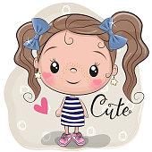 Cute Cartoon Girl on a beige background