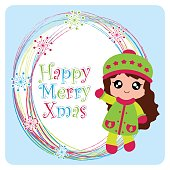 Vector cartoon illustration with cute girl on snowflakes frame suitable for Christmas card design, season greeting and postcard