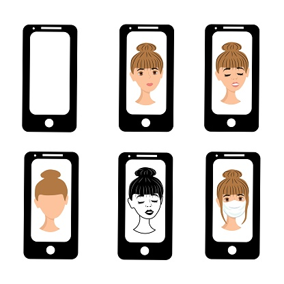 Cute girl on the phone screen. Emotions of a woman on the screensaver of a smartphone. Remote communication using gadgets. Stock vector illustration for business, internet, social networks.