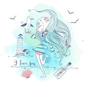 Cute girl on the seashore with a gull bird. Graphics and watercolors. Vector.