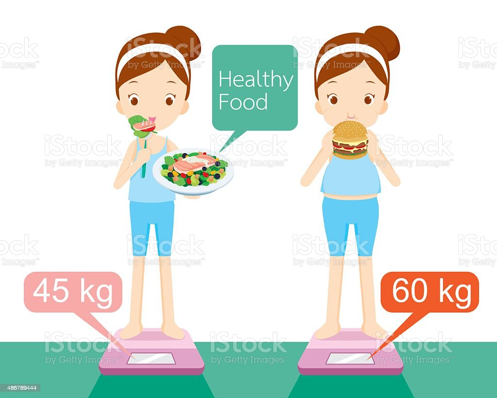 Cute girl on weighing machine vector art illustration