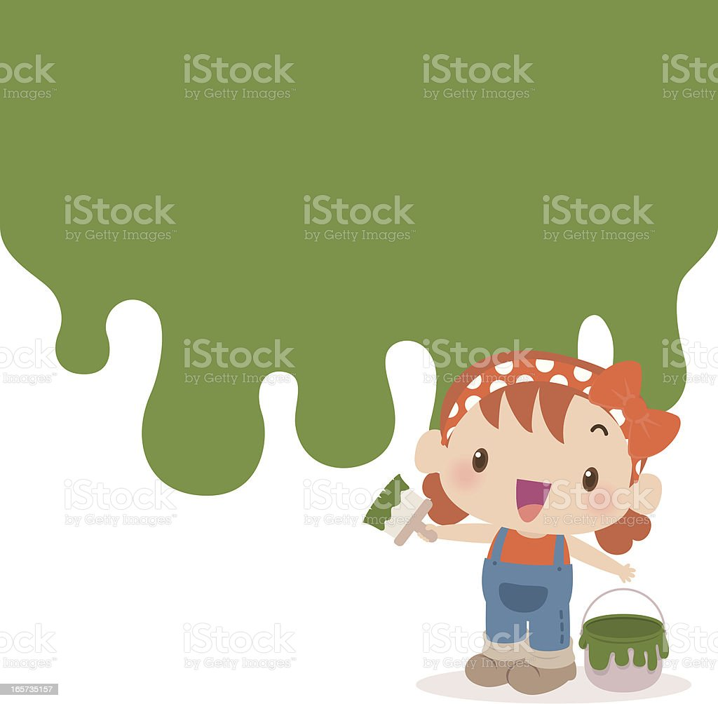 Cute girl painting wall green with a paint brush vector art illustration