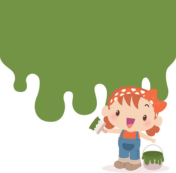 Jolie fille Peindre le mur verte avec un pinceau peinture - Illustration vectorielle