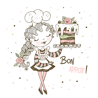 Cute girl Pastry Chef Baking a Cake. Vector Illustration.
