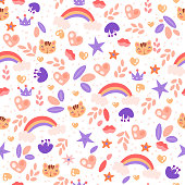 Cute girl pattern with rainbow, heart, cat, stars and flower elements on white background. Pre teen and baby girl pattern for textile, wrapping paper, banners. Cute girl seamless pattern