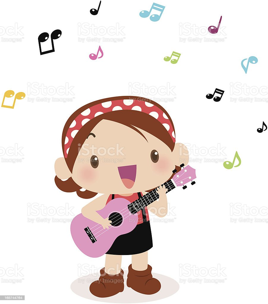 Cute girl playing guitar(ukulele) and singing royalty-free stock vector art