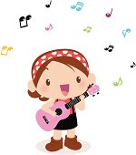 Vector illustration - Cute girl playing guitar(ukulele) and singing.