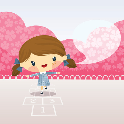 Cute girl playing  hopscotch. Schoolgirl illustration vector cartoon happy