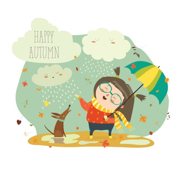 cute girl playing in rain with umbrella - kids playing in rain stock illustrations, clip art, cartoons, & icons
