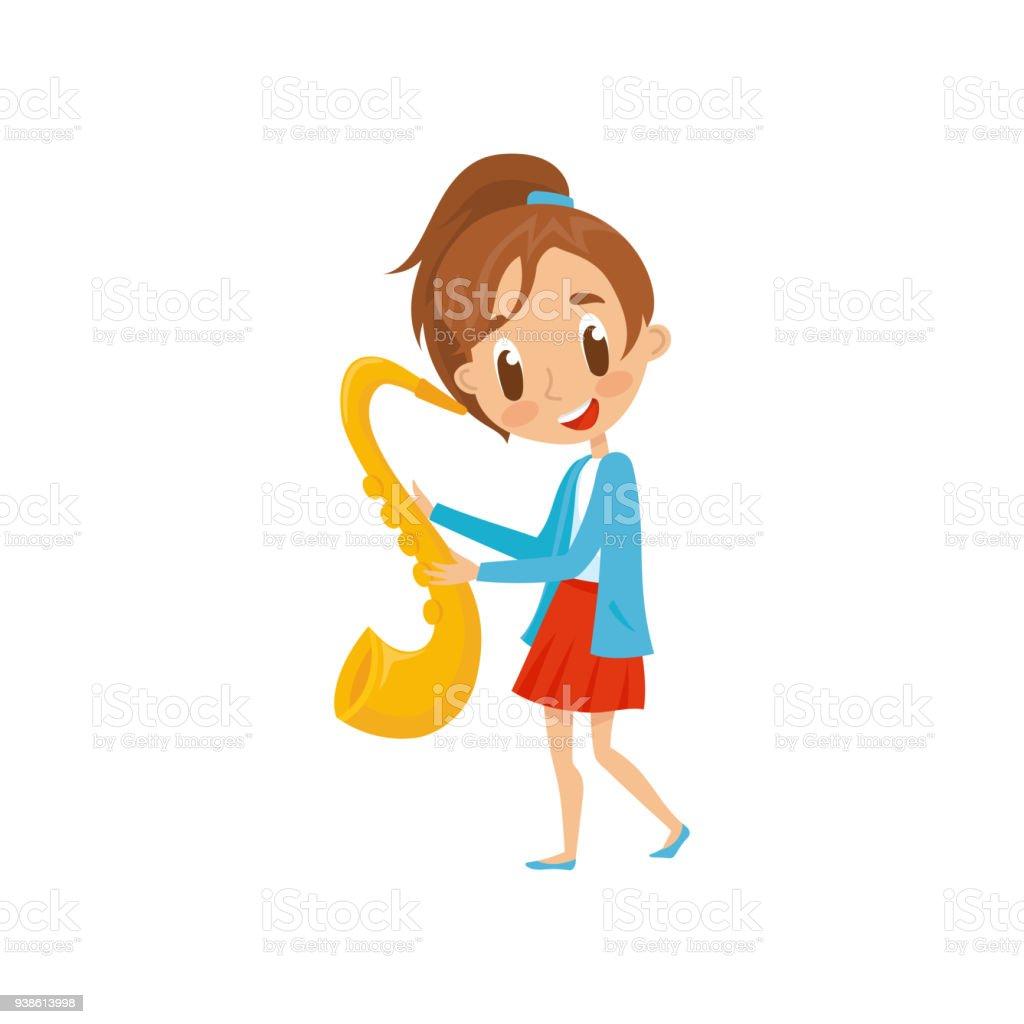 かわいい女の子再生のサックス才能のある楽器漫画ベクトル イラスト白い