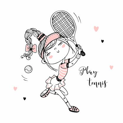 Cute girl playing tennis. Vector illustration. Sport.