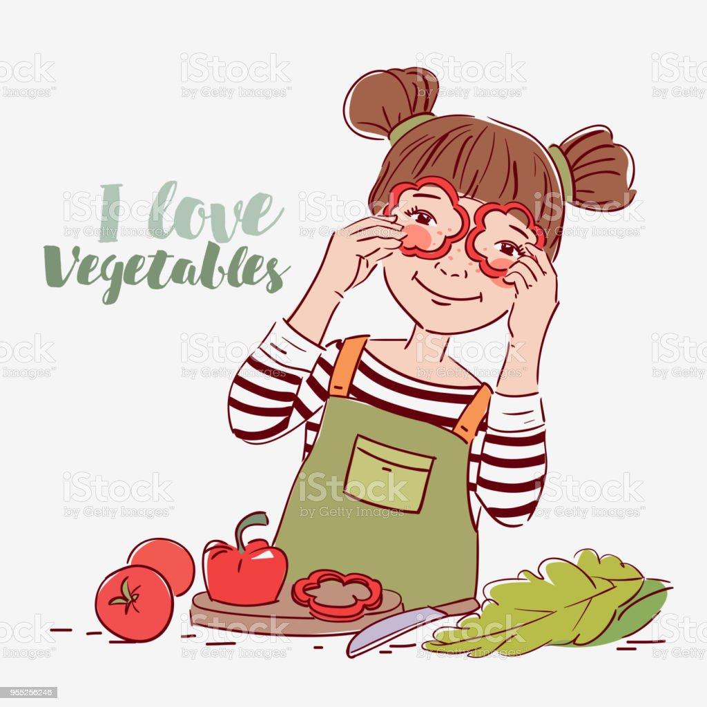 Niedliche Mädchen Spielen Mit Gemüse Glückliches Kind Spaß Machen ...