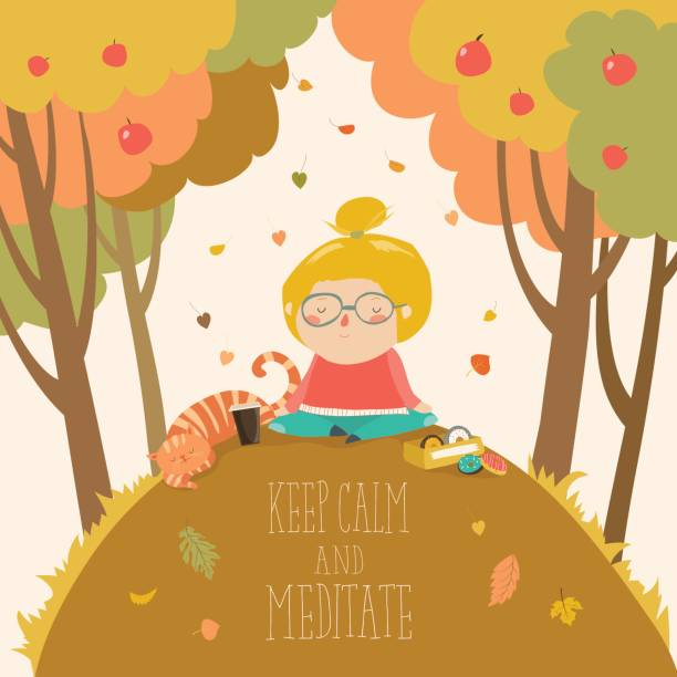 cute girl practicing yoga in autumn park - kids playing in rain stock illustrations, clip art, cartoons, & icons