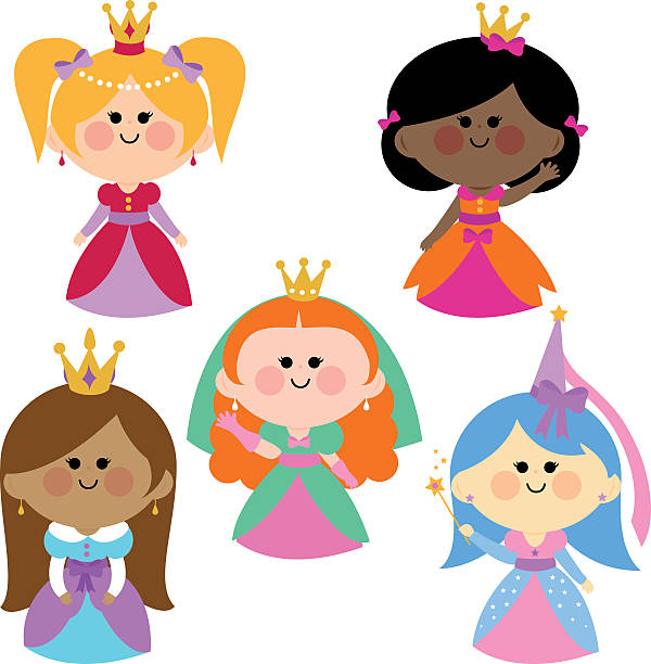 Cute girl princesses set vector art illustration