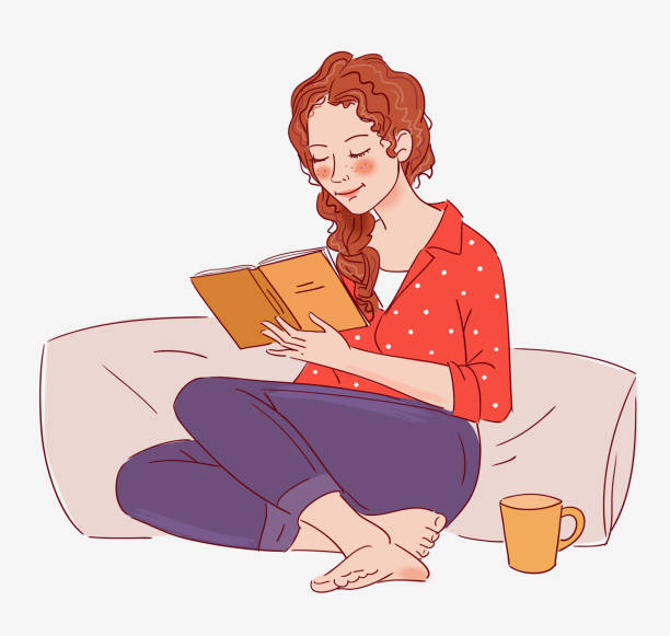 cute girl reading a book - young women stock illustrations