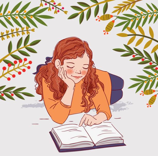 stockillustraties, clipart, cartoons en iconen met schattig meisje het lezen van een boek - mini amusementpark
