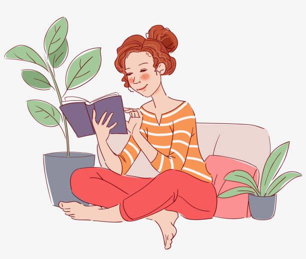 Cute girl reading a book Cute girl reading a book bedroom clipart stock illustrations