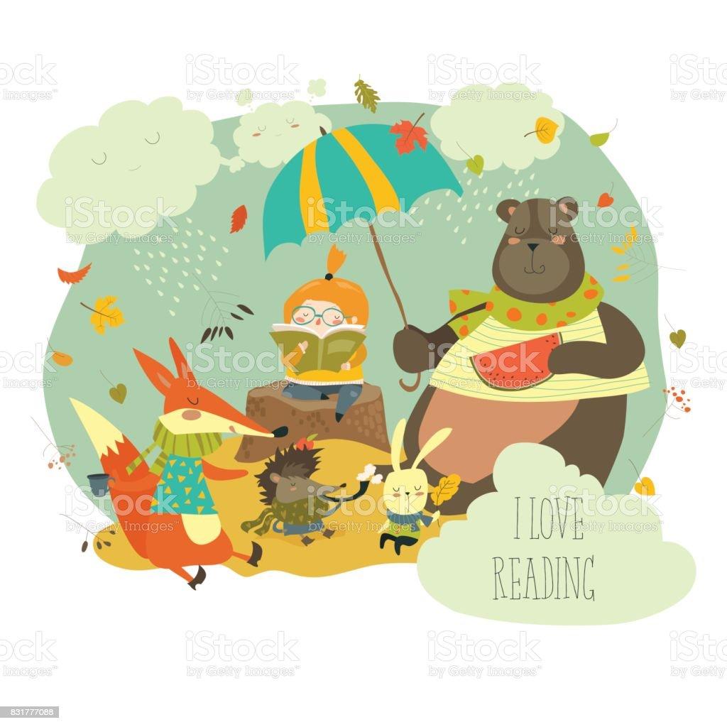 かわいい女の子は、野生動物に本を読んで ベクターアートイラスト