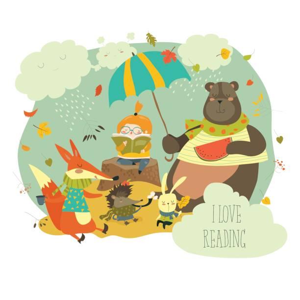 かわいい女の子は、野生動物に本を読んで - 野生動物旅行点のイラスト素材/クリップアート素材/マンガ素材/アイコン素材