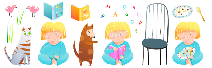 Cute girl reading studying books, eating food with pets animals clipart children objects design collection.