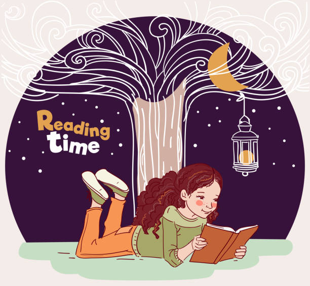 cute girl reads a book under the tree - bedtime story stock illustrations