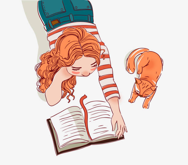 stockillustraties, clipart, cartoons en iconen met schattig meisje leest een boek - a little girl reading a book
