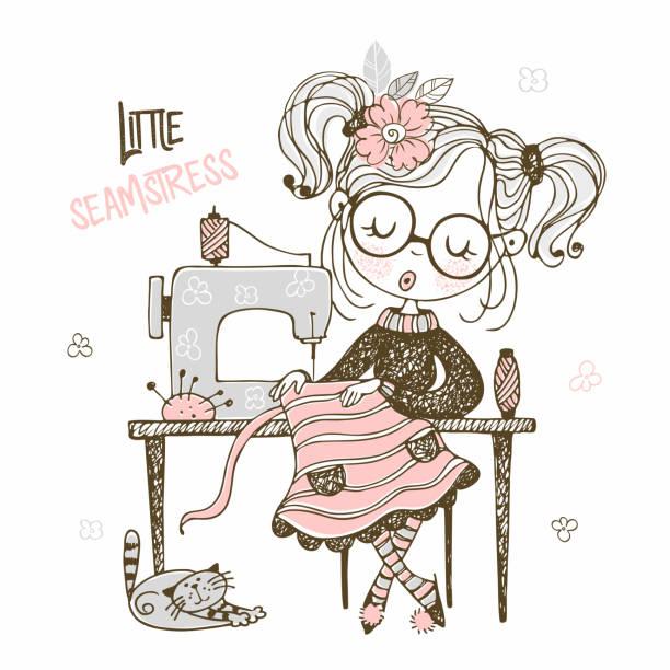 illustrazioni stock, clip art, cartoni animati e icone di tendenza di cute girl seamstress sews on a sewing machine dress. doodle style. vector - tailor working