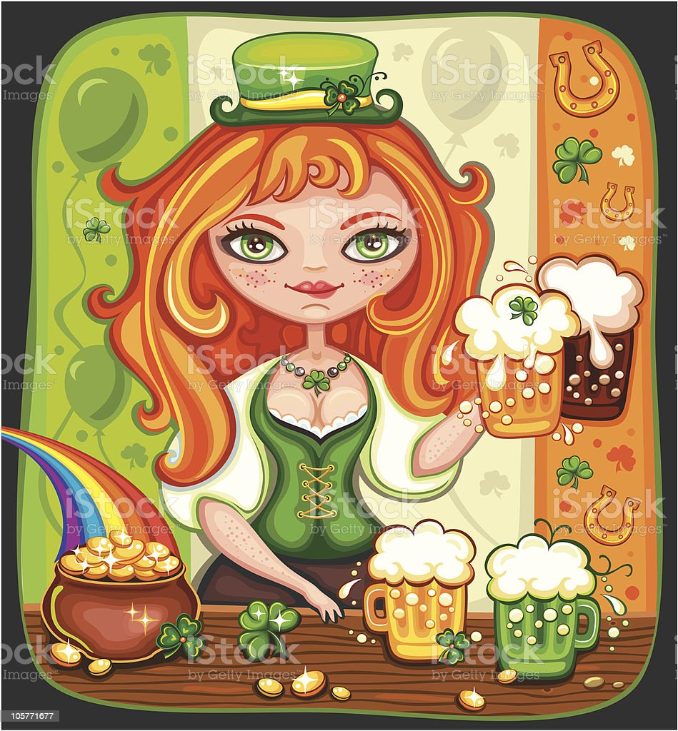 Cute girl serving  Saint Patrick's Day royalty-free stock vector art