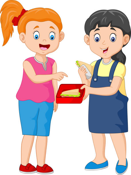 Cute Girl Sharing Sandwich with a Friend illustration of Cute Girl Sharing Sandwich with a Friend female sandwich stock illustrations