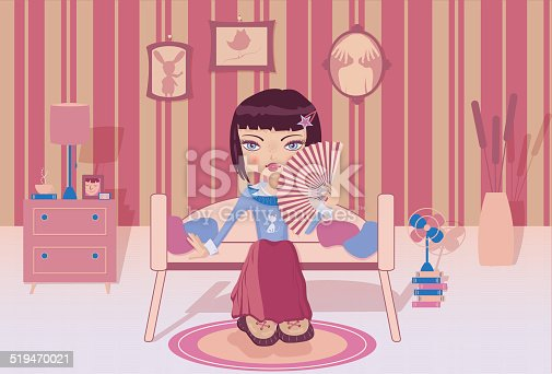 istock Cute girl sitting alone in her room 519470021