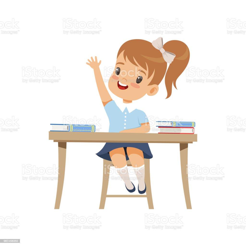 Masada Oturan Ve Yükselen Onun El Ilköğretim Okulu öğrenci üniforma