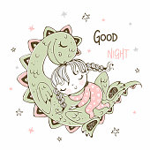 Cute girl sleeping with her pet dinosaur. Cheerful picture. Vector.