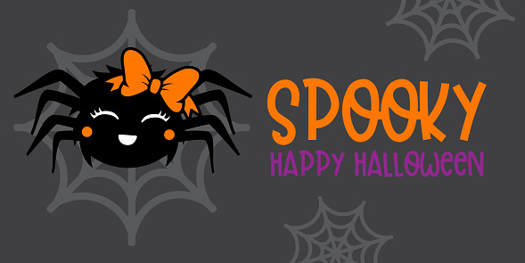 """Cute Girl Spider With Orange bow - Halloween hand drawn on t-shirt design, greeting card or poster design Background Vector Illustration.""""n"""