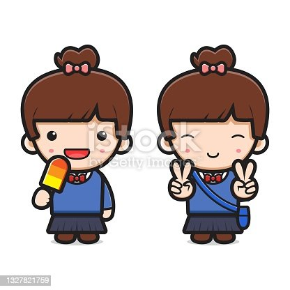 istock Cute girl student back to school cartoon icon vector illustration 1327821759