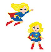 Cute Girl superhero in flight and in standing position.