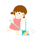 Cute girl sweeping the dust on a white background vector.
