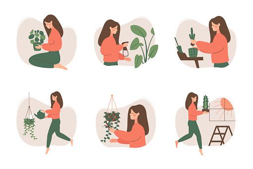 Cute girl takes care of houseplants.