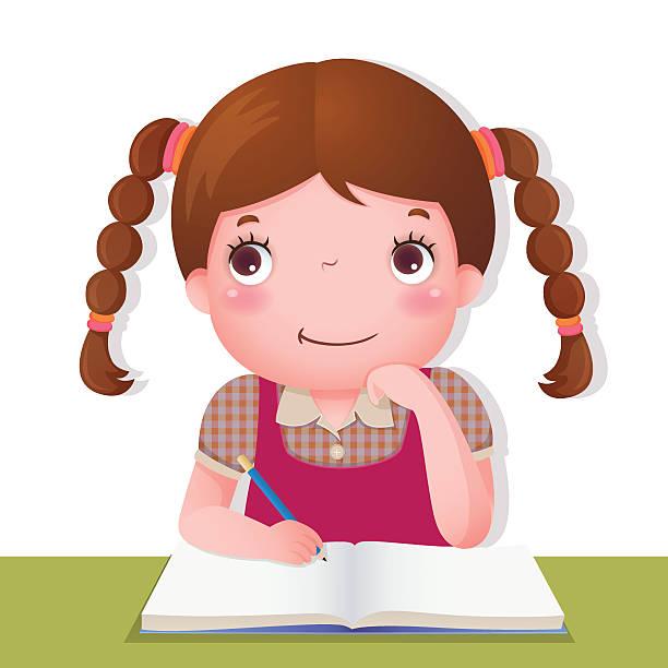 stockillustraties, clipart, cartoons en iconen met cute girl thinking while working on her school project - alleen één meisje