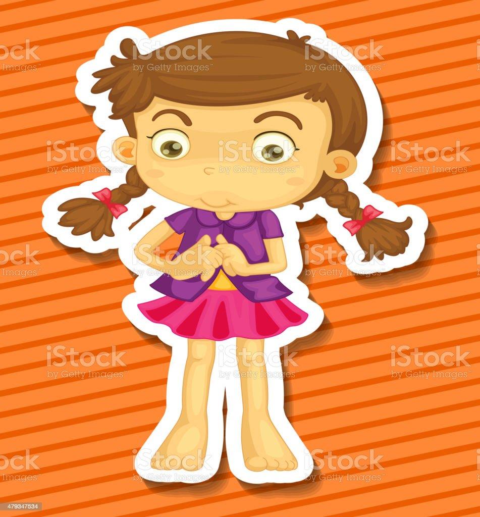 Cute Girl vector art illustration