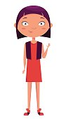 Cute girl waving. Funny cartoon character. Vector illustration.