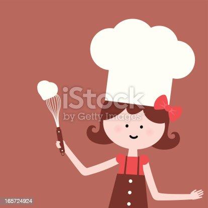 istock Cute girl whisk heart shape cream 165724924