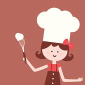 Vector illustration - Cute girl whisk heart shape cream.