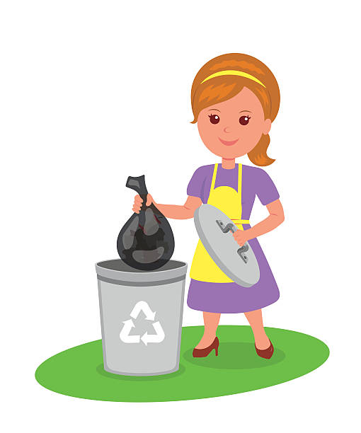 cute girl with a trash bag near the garbage container. - child throwing garbage stock illustrations, clip art, cartoons, & icons
