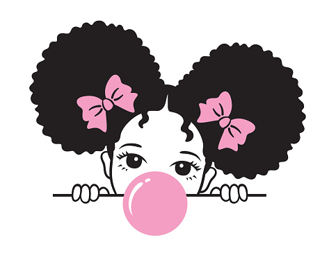 Cute Girl with Afro Puff Hair Blowing Bubble Gum