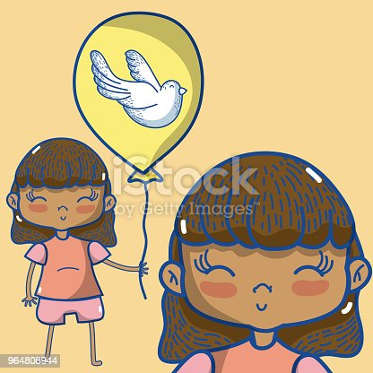 Cute Girl With Balloon Stock Vector Art & More Images of Baby 964808944