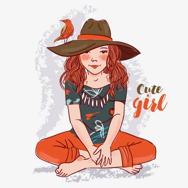 Best Clip Art Of A Cute Indian Little Girl Illustrations ...