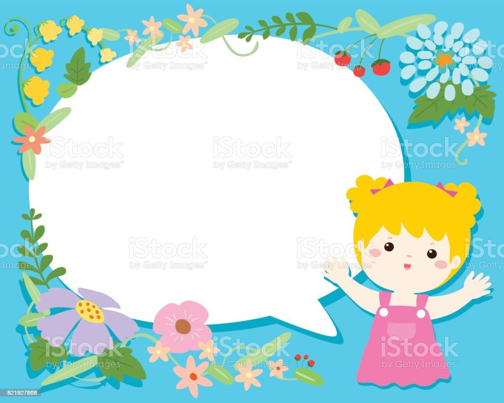 空白音声バブル花イラスト背景ベクトルとかわいい女の子 のイラスト