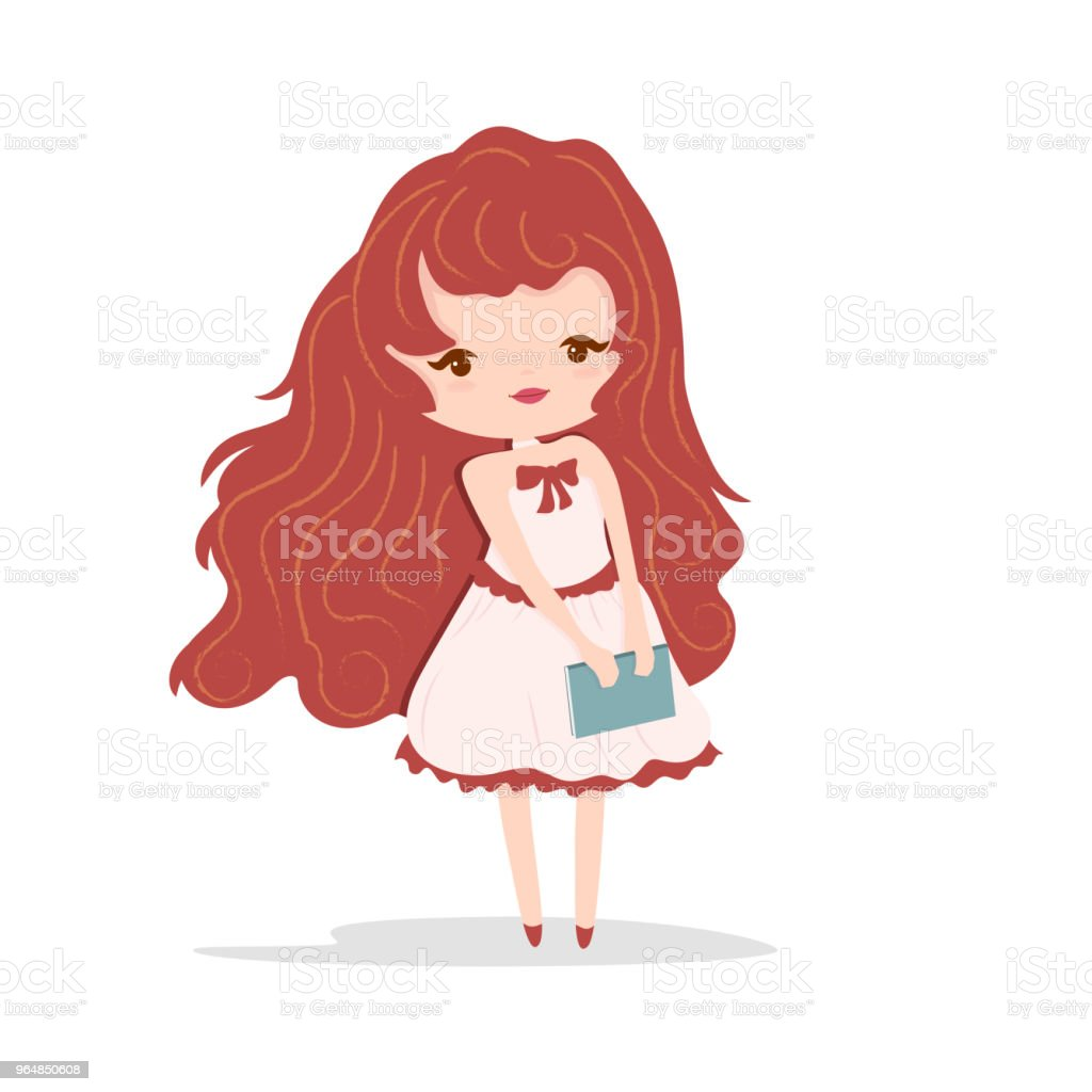 Cute girl with book, vector illustration. royalty-free cute girl with book vector illustration stock vector art & more images of adult