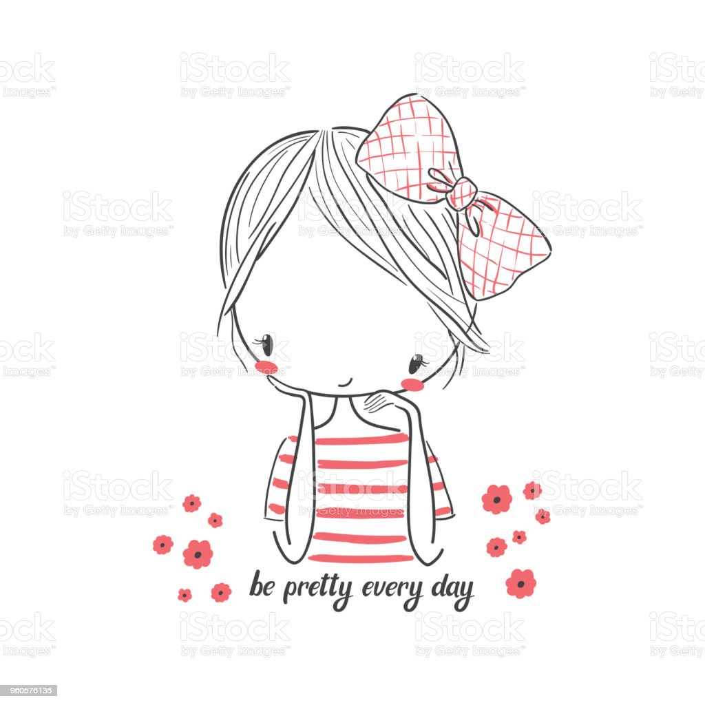 Cute Girl With Bow Vector Illustration For Clothing Stock Illustration Download Image Now Istock